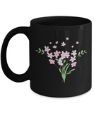 Bouquet Big Pink Smooth White Black Mugs - Funny coffee mugs - Black coffee mugs 11 oz
