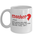 Mothere day gift - Mother, a person who does the work of twenty for free - White Porcelain Coffee Mug Cute Ceramic Cup 11 oz