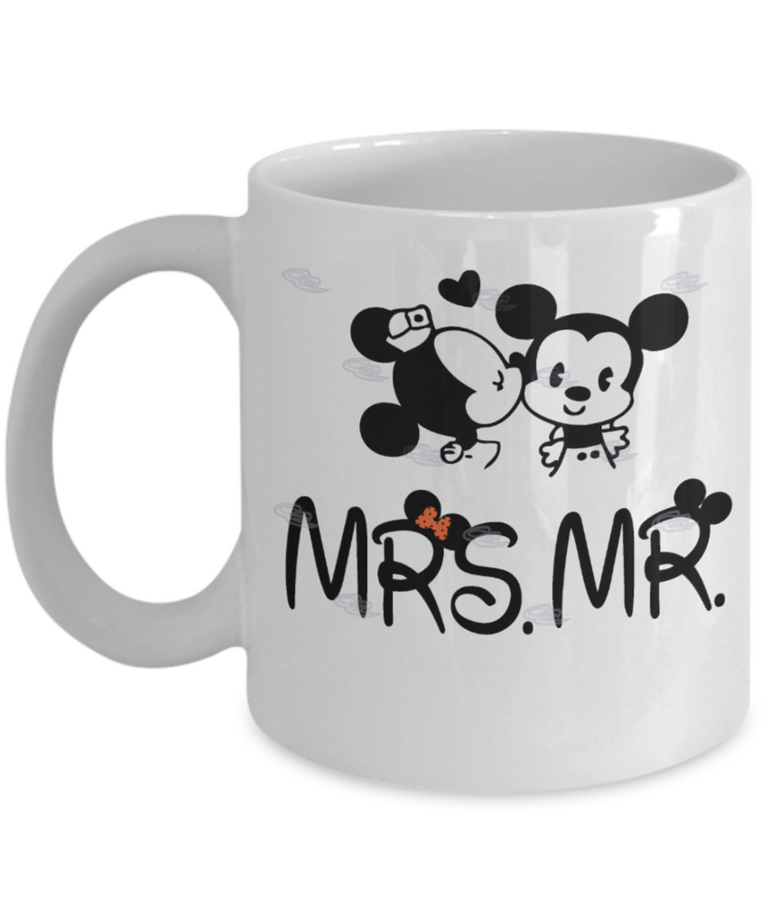 Mrs and Mr Coffee Mug - Wedding Gift For Bride and Groom White coffee mugs 11 oz