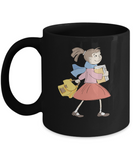 Girl going school Black Mugs - Funny Christmas Kids Gifts Black coffee mugs 11 oz