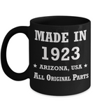 96th birthday gifts for Men/Women - Made in 1923 All Original Parts Arizona - Best 96th Birthday Gifts for family Ceramic Cup Black, Funny Mugs Gift Ideas 11 Oz