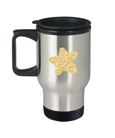 Floral Brown Star travel mugs - Funny Christmas Gifts - 14 oz Travel mugs