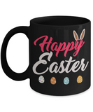 Easter bunny mugs - Happy Easter Bunny Easter Eggs - Funny Black Porcelain Coffee Mug Cute Ceramic Cup 11 oz