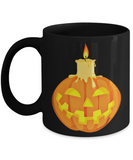 Halloween Candle Mug - Black Porcelain Coffee Cup,Premium 11 oz Black coffee cup