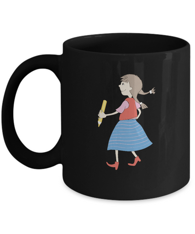 Girl with pencil school Black Mugs - Funny Christmas Kids Black coffee mugs 11 oz