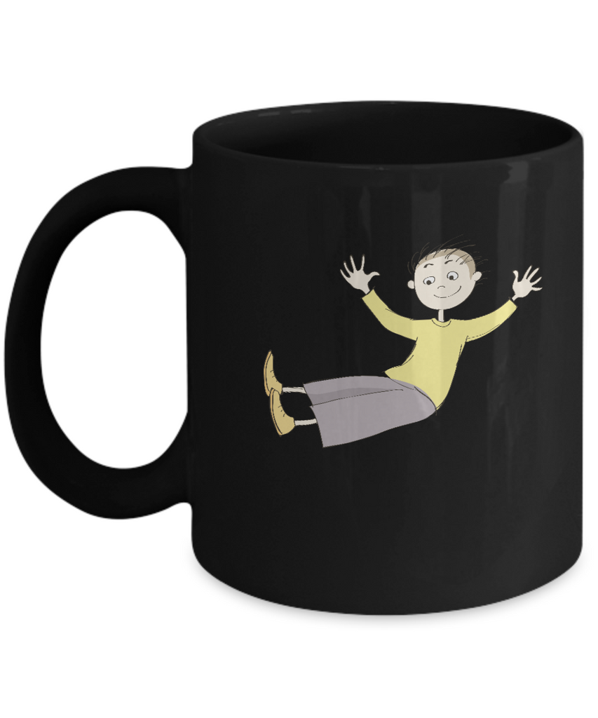 Boy happy Black Mugs - Funny Christmas Kids Gifts - Porcelain Black coffee mugs 11 oz