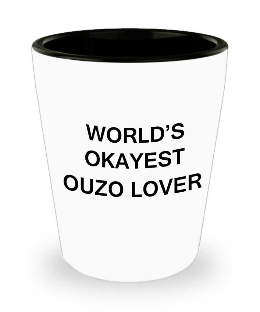 Funny shot glasse - World's Okayest Ouzo Lover - Shot Glass Premium Gifts Ideas
