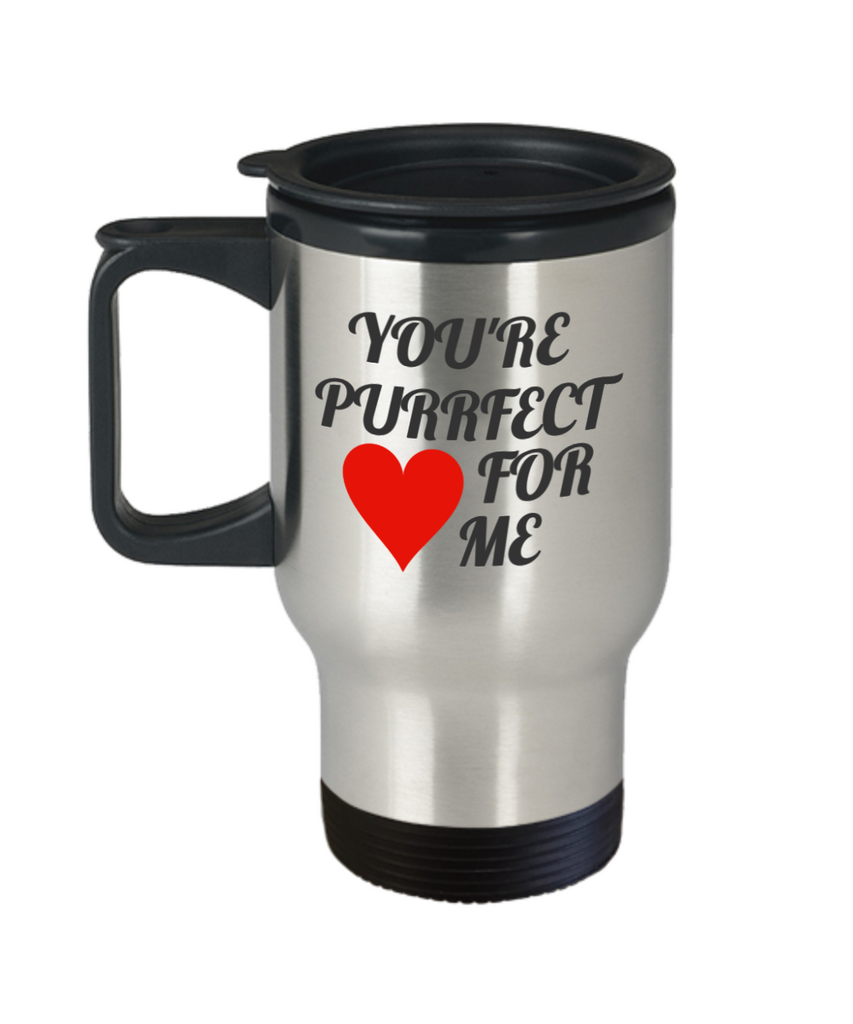 You're Purrfect Fur Me Coffee Travel Mug -Valentine's Day Gift For Girlfriend, 14 oz Travel mugs