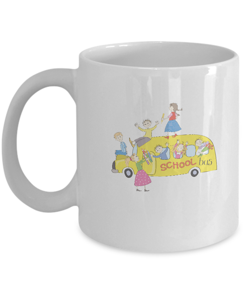 School Bus coffee mugs - Funny Christmas Kids Gifts -White coffee mugs 11 oz