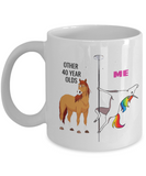40TH BIRTHDAY Gift Unicorn Coffee Mug - Me and Other 40 Year Olds, White Coffee Mug 11 oz