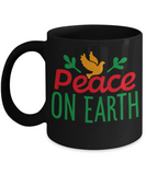 Knightmare before christmas mug - Peace on Earth - Funny Christmas Gifts Mugs, Christmas Gifts for family Ceramic Cup Black, Funny Mugs Gift Ideas 11 Oz