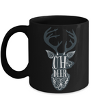 Knightmare before christmas mug - Oh Deer - Funny Christmas Gifts Mugs, Christmas Gifts for family Ceramic Cup Black, Funny Mugs Gift Ideas 11 Oz