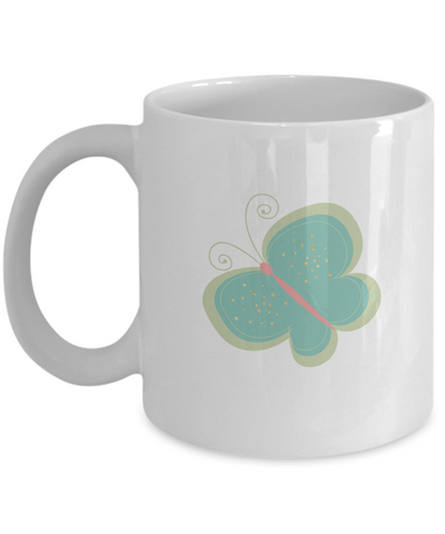 Floral Butterfly white mugs - Funny Christmas Gifts - Porcelain White coffee mugs 11 oz