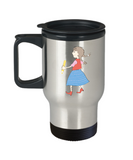 Girl with pencil school travel mugs - Funny Christmas Kids Gifts 14 oz Travel mugs