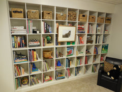 wooden storage spaces
