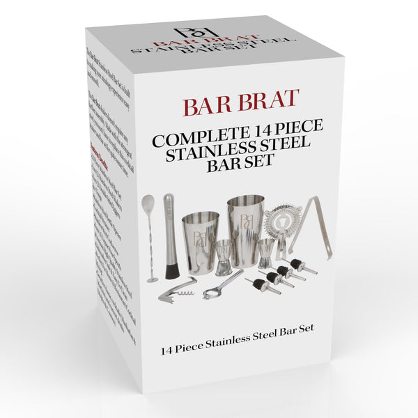 14 Piece Stainless Steel Bar Set by Bar Brat / Perfect Drink Martini Shaker Set For Any Home Bar / Bonus Jigger & 110 Cocktail Recipes (Ebook) Included
