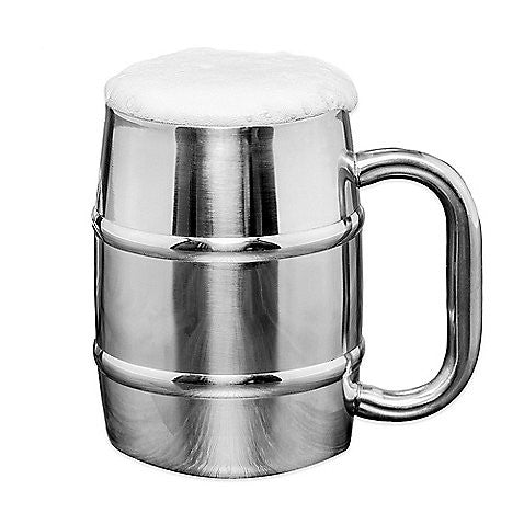 stainless steel beer mug by bar brat 16 9 oz double wall air