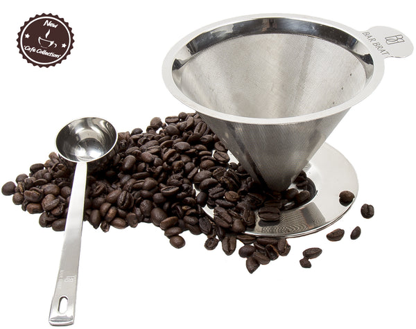 Pour Over Coffee Maker + Spoon by Bar Brat / Premium 304 Stainless Steel Dripper / Heat Resistant Handle / 110 Cocktail Recipe Ebook Included