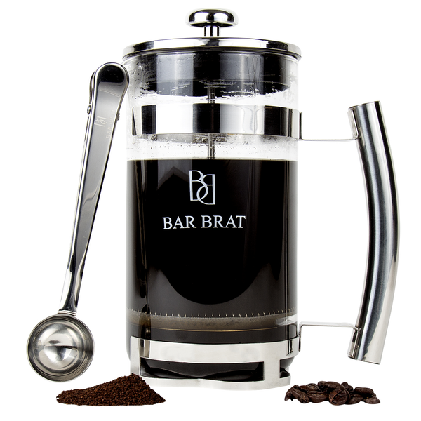 French Coffee Press Maker by Bar Brat / Bonus Stainless Steel Bag Clamp Spoon Included