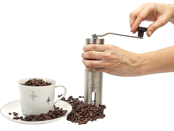 Deluxe Manual Coffee Grinder Set by Bar Brat / Complete Set With Brush, Bag & Coffee Spoon