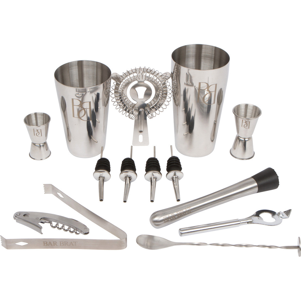 Stainless Steel Cocktail Shaker 3 Pieces Bar Set Cocktail Drinks Jigger Shaker