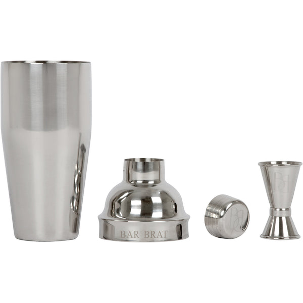 5 Piece Cocktail Shaker & Martini Shaker Set by Bar Brat | 24 oz Built-In Strainer