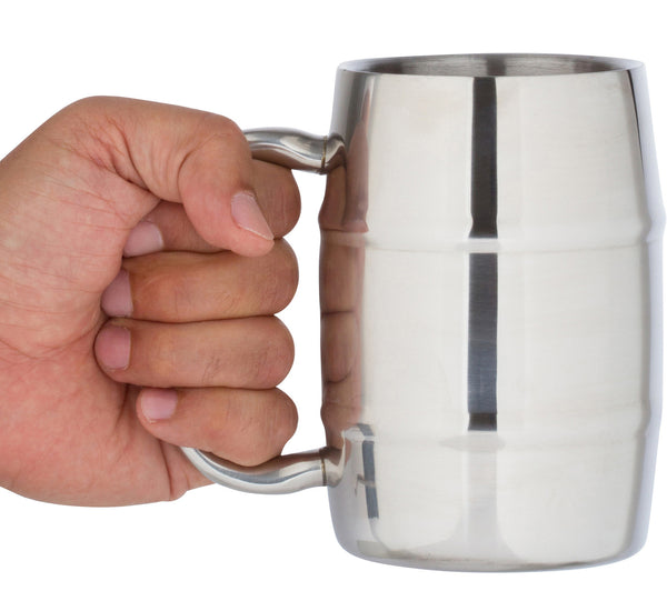 Stainless Steel Beer Mug & Coffee Mug by Bar Brat | Bonus Lid Included