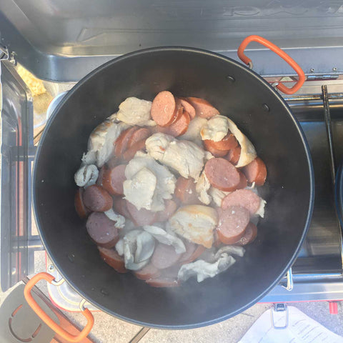 Cooking Sausage and Chicken