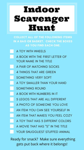 Indoor Scavenger Hunt List