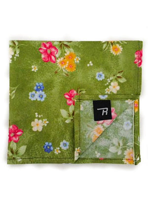 Green Botanical Print Pocket Square
