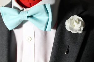 Aqua Bow Tie and White Flower Suit Pin