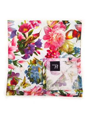 Floral Hummingbirds Pocket Square
