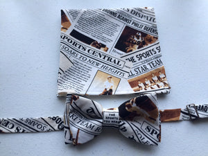 Newspaper Print Pocket Square - Reign Bow Ties - 2