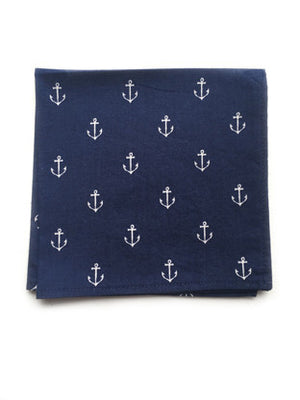 Navy Blue Anchor Print Pocket Square - Reign Bow Ties