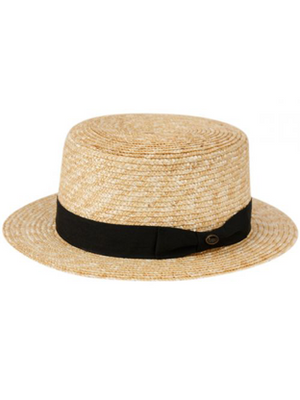Mens Straw Hat with Black Band