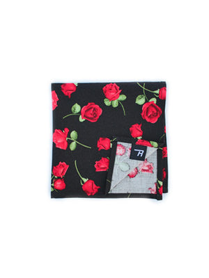 Red Roses Print Pocket Square