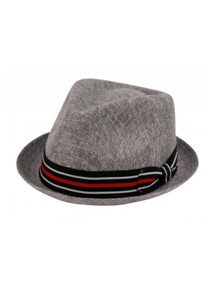 Grey Small Brim Fedora with Red, White and Black Stripe Band