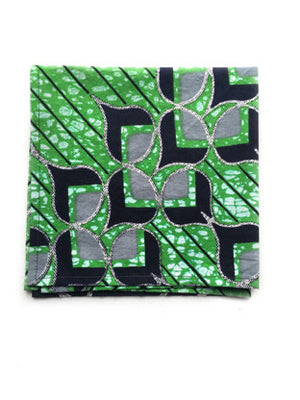 Green African Print Pocket Square - Reign Bow Ties