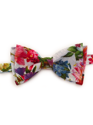 Floral Hummingbirds Bow Tie