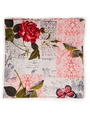 Romantic Script Floral Pocket Square