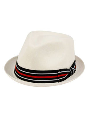 White Small Brim Fedora Hat with red, white and black band