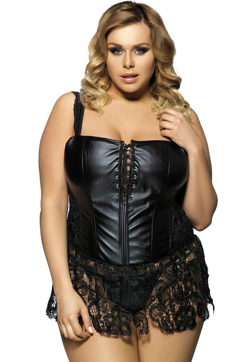 Jayla Faux Leather and Venice Lace Corset