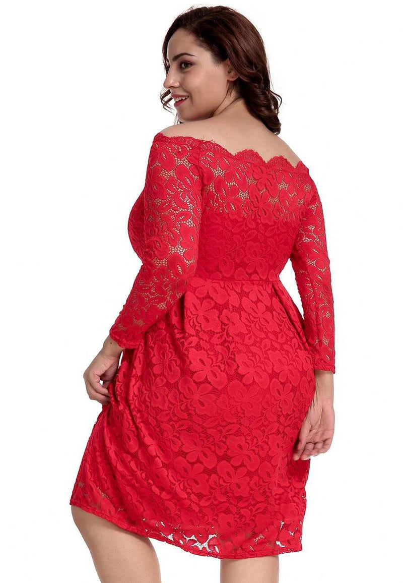 Journee Long Sleeve Red Lace Midi Dress