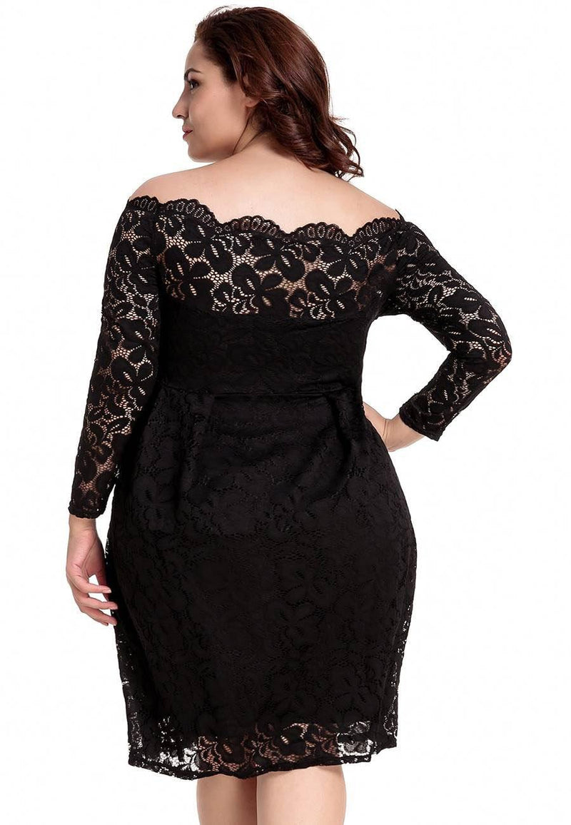 Georgia Black Lace Long Sleeve Midi Dress