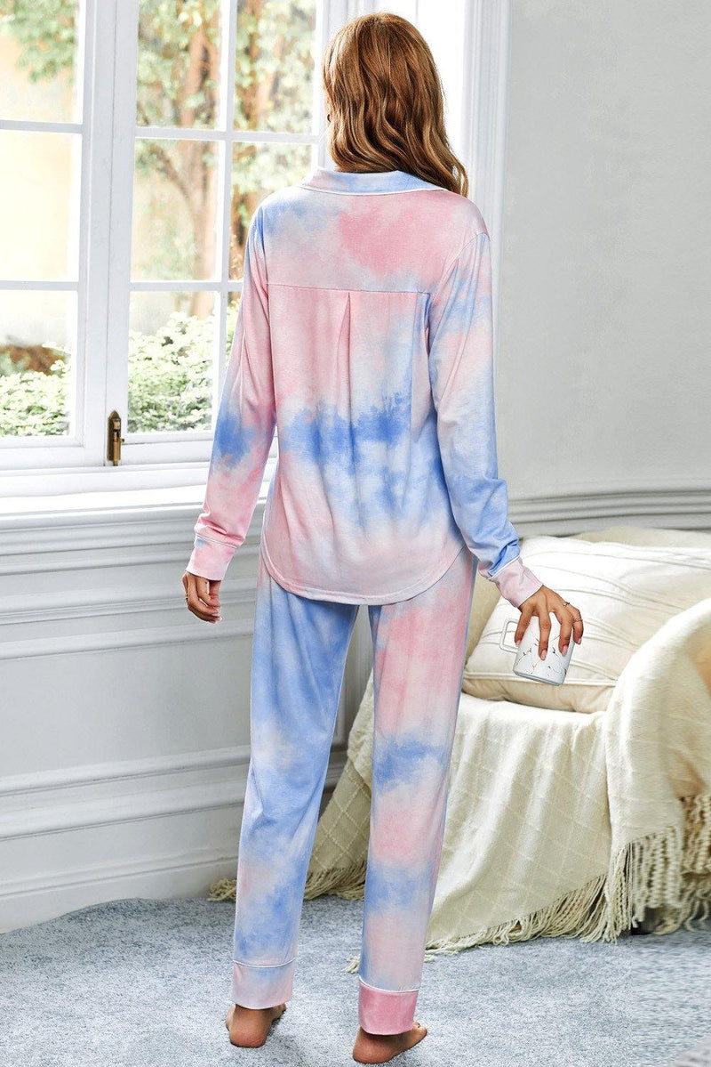 Cecilia Tie-dye Long Sleeve Shirt with Pants Lounge Set