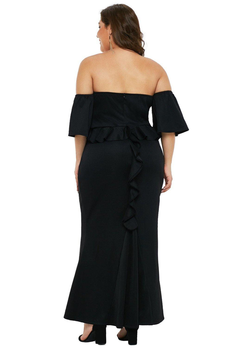Catalina Sexy Strapless Drop Shoulder with Ruffles Maxi Dress
