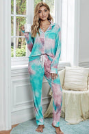 Alina Multicolor Tie-dye Long Sleeve Shirt with Pants Lounge Set