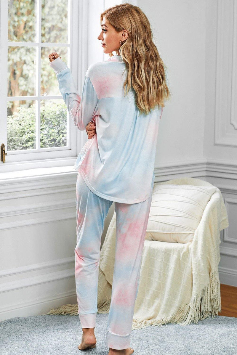 Reese Tie-dye Long Sleeve Shirt with Pants Lounge Set