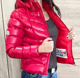 Hooded Puffer Jacket in Red
