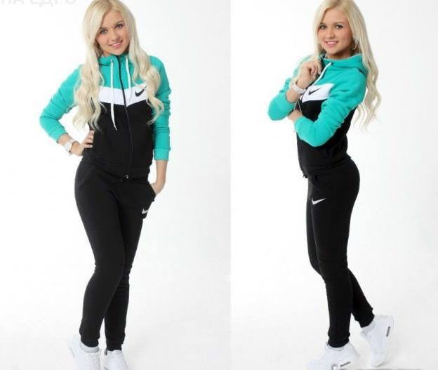 Tracksuit sports wear- black , green  top and sleeves , front zip and hoodie